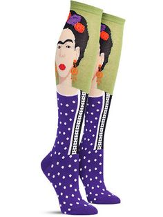 Frida Kahlo was rocking flower crowns a century before college aged girls adopted the trend at Coachella. Be ahead of the curve this time with these eye-catching, fun Frida Kahlo self portrait knee hi