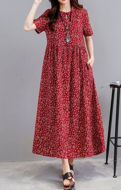 Women loose fit dress pocket ethnic flower tunic short sleeve large size casual ... , #casual #dress #Ethnic #fit #flower #large #loose #pocket #short #size #sleeve #tunic #women