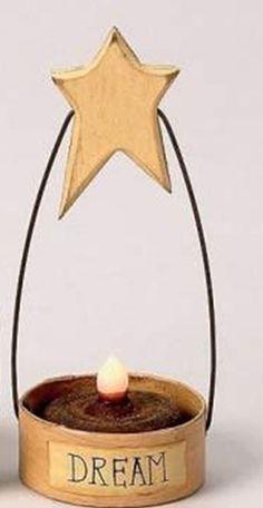 Primitive Star Tea Light Candle Holder