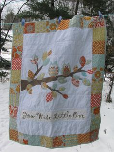 Baby Quilt with Owls and branch in Aqua blue and by barabooboo