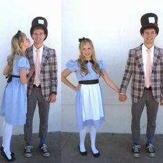 halloween, alice in wonderland, mad hatter, couples costume Cute Halloween Costumes, Family Costumes, Family Halloween Costumes, Couple Halloween, Couple Costumes, Group Costumes, Halloween 2013, Disney Halloween, Halloween Party