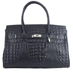 Joy black croc embossed Italian leather handbag