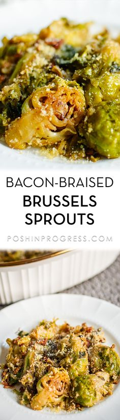This bacon-braised Brussels sprouts recipe with Balsamic glaze is so delicious. If you don't think you like Brussels sprouts, I promise you will after you try this recipe! It's my favorite holiday side dish. [ad]  #wegmans #wegsdelivered #brusselssprouts #bacon