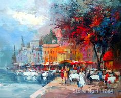 Romantic paintings Village at the medeterranean Willem Haenraets art on Canvas High quality hand painted Art Mural Amour, Mural Art, Romantic Paintings, Beautiful Paintings, Degas Paintings, Landscape Paintings, Love Wall Art, Beautiful Posters, Impressionism Art