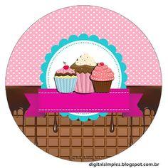 """Convites Digitais Simples: Kit de Personalizados Tema Festa """"Cupcake"""" para…"""