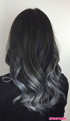 Our trending black to grey balayage ombre shade blends easily in to black hair, resulting in an overall sizzling hot and natural and current ombre look. It works on gray hair. Balayage is a smart solution for gray hair because it . Dark Ombre Hair, Silver Ombre Hair, Balayage Hair Grey, Balayage Ombré, Ombre Hair Color, Hair Color For Black Hair, Brown Hair Colors, Balayage Highlights, Gray Ombre