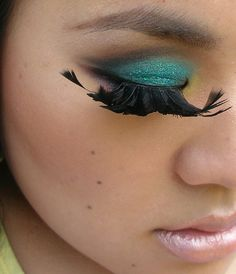 d4839ffcad8 Feather lashes?! crazy Teal Eyes, Turquoise Eyes, Feather Eyelashes, Fake  Lashes