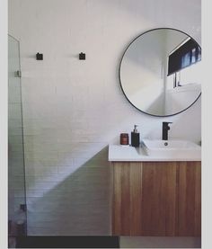 It makes us so happy to see all your Block Shop purchases! Here's @ourhomeedit nailing the round mirror in bathroom trend. Shop this same mirror by searching 'Print Decor' at http://ift.tt/1v9jaEU #theblockshop #9theblock #bathroomdesign #bathroom #bathroominspo #mirror #regram