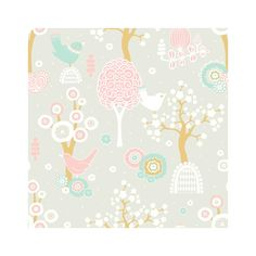 Design Tapete 'Zauberwald' grau/rosa/beige