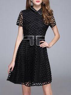 Casual Short Sleeve Pierced Midi Dress with Belt