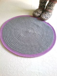 Rug floor crochet gray and lilac handmade by crochetbynadia, €31.00