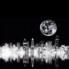 City lights - Giant Moon!
