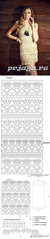 Ideas Crochet Dress Chart Robes For 2019 Mode Crochet, Crochet Diy, Crochet Skirts, Crochet Woman, Irish Crochet, Crochet Clothes, Crochet Tops, Crochet Diagram, Crochet Chart