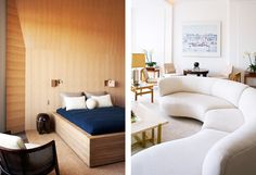 Designer Pierre Yovanovitch's bedroom and living room overlooking the Seine, in Paris. See more in #Introspective.