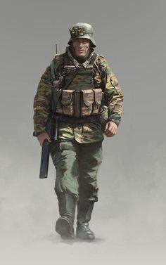 soldado del Heer alemán, perteneciente a la Wehrmacht. Military Figures, Military Art, Military History, Ww2 Uniforms, German Uniforms, German Soldiers Ww2, German Army, Military Drawings, Gangsters
