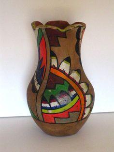 Vintage Mexican Mexico Art Pottery Vase, Bright Colors Folk Art Floral Flowers