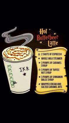 Nerd is the word! Hot Butterbeer Latte from Starbucks. Just show the barista this pic and they'll make it for you. Harry Potter Drinks, Harry Potter Food, Harry Potter Butterbeer, Fun Drinks, Yummy Drinks, Beverages, Party Drinks, Butterbeer Latte, Disney Cakes