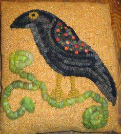 Crow with Needle Felted Embellishments