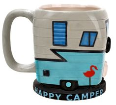 Ceramic mug resembles a camper with windows, pink flamingo and propane tank. Happy Camper is painted on base of mug. Detailed mug to resemble a camper. Great gift for a Camper. Vintage Campers, Vintage Trailers, Vintage Motorhome, Vintage Rv, Vintage Stuff, Funny Coffee Mugs, Funny Mugs, Coffee Humor, Camping Coffee