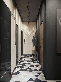 Couloir en noir et blanc, sol graphique | Black and white entryway, graphic�