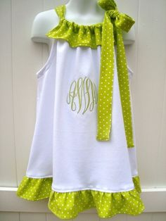 Spring Summer Beach  Wedding Custom Boutique Monogrammed Ruffle Dress via Etsy