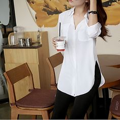 Solid Color Slit Side Design Long Sleeve Turn Down Collar Single Breasted Blouse For Women Mode Chic, Chiffon Shirt, Blouse Online, White Long Sleeve, Blouses For Women, Women's Blouses, Cheap Blouses, Womens Fashion, Cheap Fashion