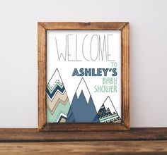 Baby Shower Welcome Sign Printable, Adventure Begins, Mountains Woodland  Theme Party, Welcome To The Shower, Navy U0026 Mint Tribal