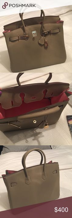 Taupe Handbag with Pink lining OMG! This is my baby! This is the most softest leather bag I own. Words cannot describe the love I have for this bag. It's amazing!!! Bags Totes