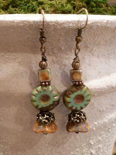 Czech glass beaded earrings, fancy picasso beads, turquoise, amber, gold 3-petal flower. $17.00, via Etsy.