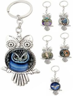 OVO Murakami Key Chain /& Pins OG Flower Owl Multi Color White Yellow Blue Black