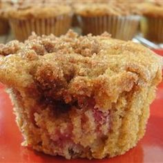 Cinnamon-Topped Rhubarb Muffins - Just made these for dinner. AMAZING! And I even left off the topping. #makeupmelanie www.makeupmelanie.com