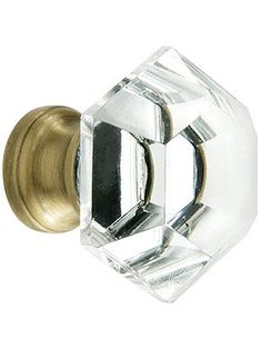 Cabinet Knobs. Hexagonal Cut Crystal Knob With Solid Brass Base