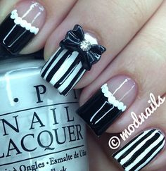 Bowtie black and white stripped nails