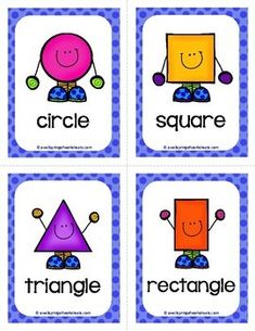 Shape Flash Cards by A Wellspring of Worksheets Kindergarten Learning, Preschool Education, Toddler Learning Activities, Preschool Activities, Teaching Kids, Numbers Preschool, Preschool Printables, Shapes Flashcards, Math Flash Cards