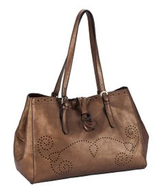 Take a look at the Copper Perforated Tote & Cosmetic Bag on #zulily today!
