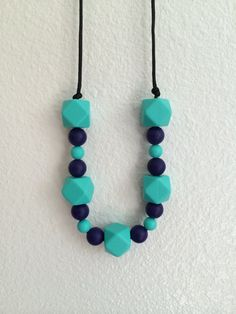 Silicone teething necklace by SarahsTeethers on Etsy