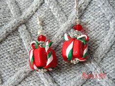 Red gift box dangling earring Christmas earrings by MoirasArt