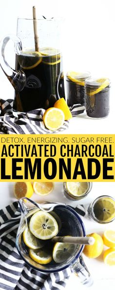 This Sugar Free Detox Charcoal Lemonade is such a fun way to switch up your favorite beverage! Activated charcoal is great for detoxing the body, has a super mild taste, and is so fun to drink! thetoastedpinenut.com #thetoastedpinenut #activated #charcoal #lemonade #sugarfree #drink #beverage #summer #detox #detoxify