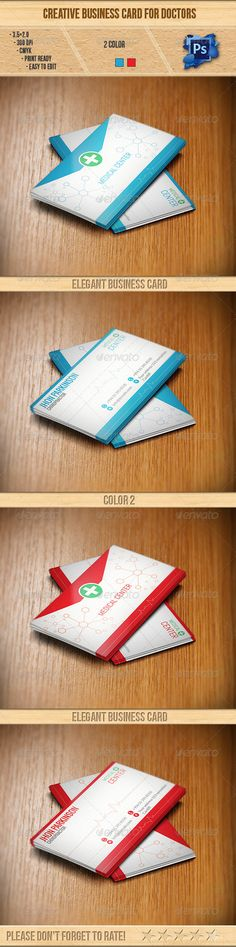 "Creative Business Card for Doctors  #GraphicRiver        Details  3.5×2.0 ( "" 3.75×2.25 "" with bleed settings)  300 DPI CMYK Print Ready!  Full Layered  4 PSD file Free Fonts Used  Lato,  Abel, Oswald Please Don't Forget To Rate!                     Created: 12 December 13                    Graphics Files Included:   Photoshop PSD                   Layered:   Yes                   Minimum Adobe CS Version:   CS6                   Print Dimensions:   3.5x2.0             Tags      blue…"