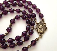 Antique Style Rosary, Immaculate Heart of Mary, Amethyst Beads, Vintage Style Rosary, Catholic Prayer Beads, Purple Rosary, Bronze Crucifix on Etsy, $55.00