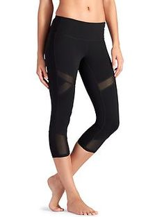 Crux Capri - The ultimate breathable capri for hot yoga with sheer mesh spliced in for ventilation.
