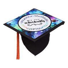 Art is Individuality Graduation Cap Topper #art #individuality #unique #artwork #galaxy #GraduationCapTopper Graduation Cap Toppers, Grad Cap, Diy Face Mask, Gifts For Dad, Floral Design, Make It Yourself, Prints, Meme, Quotes