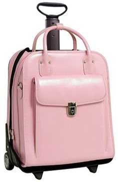 McKlein La Grange Carry-On, Pink Italian Leather The LaGrange bag has a patented 2-in-1 Detachable Wheel and Handle System. A vertical, euro influenced design
