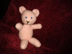 Little 2 inch high teddy to go with baby shawl, just right for baby to hold - crochet
