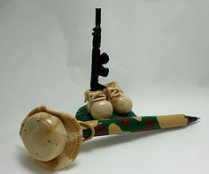 Fathers Dads Day Polymer Clay Military Camo refillable Pen Set with stand, opening bid starting at $9.99