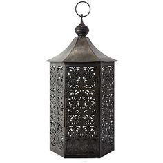 """Calypso 8"""" Cut-Out Lantern ($69) ❤ liked on Polyvore featuring home, home decor, candles & candleholders, distressed home decor, iron lantern and iron home decor"""
