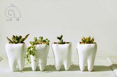 AIBEI-Pastoral Style White Ceramic plant Pots 1PC Creative Teeth model Flowerpot Mini Flower Garden Pots Planters