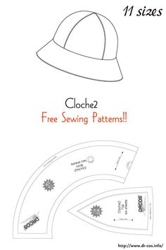 This is the pattern of a inch size(letter size) cm size) Hat Patterns To Sew, Doll Clothes Patterns, Sewing Patterns Free, Free Sewing, Sewing Clothes, Clothing Patterns, Doll Patterns, Sewing Hacks, Sewing Tutorials