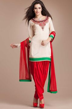 Beige Crepe and Viscose, ready to wear patiala suit. Neck and daman/hem embroidered with zari, zircon and crystal work with price $76.57  http://www.andaazfashion.us/salwar-kameez/patiala-suits/occasion/casual-wear-patiala-suits