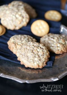 Salty Ritz Cracker Oatmeal Cookies A Chewy oatmeal cookie with crushed Ritz crackers and coarse sea salt, loaded with white chocolate chips. Such a FUN twist on a classic cookie!